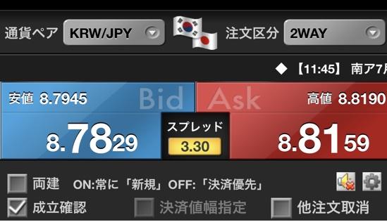 韓国ウォン円FX
